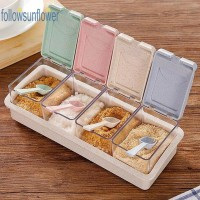 ★fo★4 Grid Plastic Wheat Straw Flip Drawer Spice Jar Seasoning