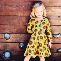 Gugur Dress Princess Lengan Panjang Motif Print Bunga untuk Musim
