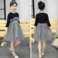 Dress Princess Lengan Panjang Desain Patchwork Motif Bunga untuk