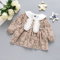 Dress Lengan Panjang Motif Print Bunga + Tas Kelinci untuk Perempuan