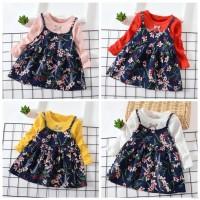 Dress Casual Bayi / Anak Perempuan Lengan Panjang Motif Bunga untuk