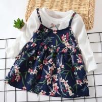 Dress Anak Perempuan Palsu Dua Lengan Panjang Baju Lucu Bunga
