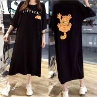 Long Dress Jumbo / Baju Tidur Wanita Bahan Baby Terry Adem Korea Style