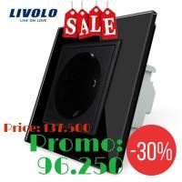 LIVOLO K-Pad Socket 1Gang Stop Kontak Black (EU Socket)