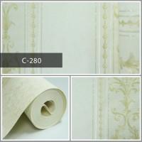 Wallpaper Sale Ready Klasik Garis Soft Krem Putih 53CM X 10M