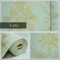 Wallpaper Sale Ready Klasik Batik Soft Krem Biru 53CM X 10M