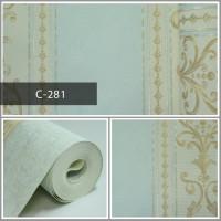 Wallpaper Sale Ready Klasik Garis Soft Krem Biru 53CM X 10M