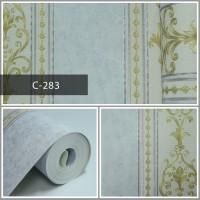 Wallpaper Sale Ready Klasik Garis Biru Muda Krem 53CM X 10M
