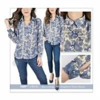 HnM Blie vintage print longsleeve flowy blouse