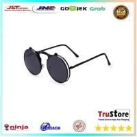 Kacamata Hitam frame bulat Round Vintage Steampunk Sunglasses - Black/