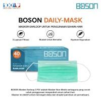 BOSON Masker Earloop 3 Ply Non-Medis Isi 40 Pcs - Disposable Face Mask
