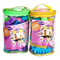 Happy Kids Block Lego Building Blok Isi 60Pcs Tas Mainan Edukasi Anak