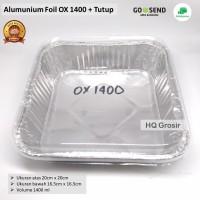 Alumunium Foil Tray Kotak OX1400+Tutup, Lasagna,Macaroni Schotel,Cake