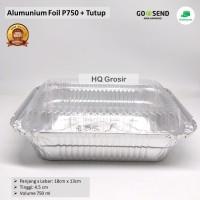 Alumunium foil cup kotak (besar) P750 + Tutup(briyani,lasagna, mentai)