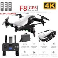 Drone F8 3Pcs Battery + Tas Brushless GPS 4K Kamera Wifi Gimbal Stabil
