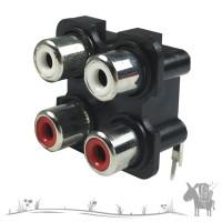 Soket RCA Socket 2x2 2 Way 4 Pin Tancap Ke PCB Box Bell