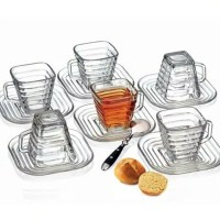 1 SET ISI 6 PCS GELAS CANGKIR DAN PIRING / CUP & SAUCER GLASS SOUVENIR