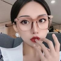 kacamata fashion wanita transparan square flat glasses jgl147