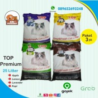 PROMO!!! pasir kucing Top cat litter 25lt ( paket 3 sak ) - GOJEK GRAB