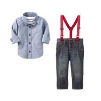 Pakaian Anak Laki-Laki / Stelan GAP Kemeja Blue Suspender Set Jeans