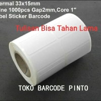 "33x15mm 2line 1000pcs core1"" gap,direct thermal,Label sticker barcode"