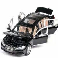 Diecast mobil1:24 BMW 760Li pull black berjalan nyala lampu suara-Blak - Black