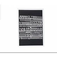 FELT LETTER BOARD 40X28 CM (INCLUDE HURUF) PAPAN HURUF ANGKA FRAME - WHITE-BLACK