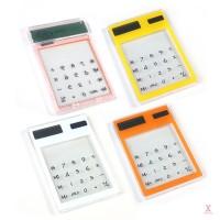 Kalkulator LCD Ultra Tipis 8 Digit Transparan Tenaga Surya untuk