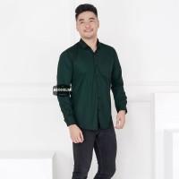 Kemeja Pria Lengan Panjang Polos Hijau Botol Dark Green Slimfit Casual