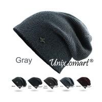 Beanie Plaid Gorras Topi Kupluk Dewasa Knitted Hat Bahan Rajut Tebal - Dark Navy