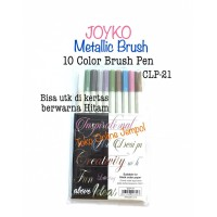 10 spidol Metalic Color Brush Pen CLP-21 Metalik CLP21 Joyko ATK1038JY