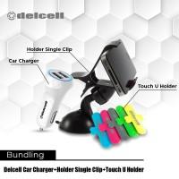 Promo Bundling Delcell Car Charger + Car Holder + Touch Holder