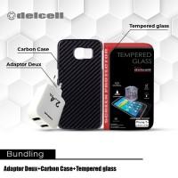 Promo Bundling Adaptor Deux 2.4A + Carbon Case + Tempered Glass