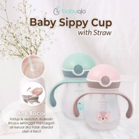 Babyqlo SBT7001 Sippy Training Cup with Straw Botol Minum Sedotan