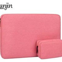 Tas Laptop Softcase Waterproof Nylon set High Quality 14 inch - pink
