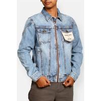 Jaket Jeans / Denim Pria dengan Resleting Depan Warna Biru Muda - M