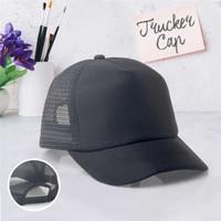 Topi pria trucker cap hat baseball polos hitam coklat