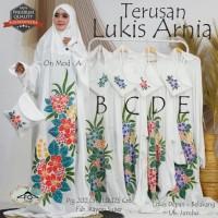 Mukena Putih Terusan Lukis Arnia Motif Bunga Jumbo Realpict Original
