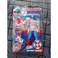 Jam LEGO Tangan Anak Plus Mainan Robot Superhero Batman Superman cp - captain