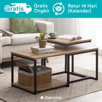 Kozu Set Meja Tamu dan Meja Samping / Coffee Table and Side Table Kayu
