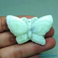 liontin Batu Jade Giok type A Shape kupu kupu Asli