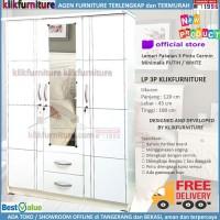 Lemari Pakaian Baju 3 Pintu + Cermin Full Putih LP3P Klikfurniture