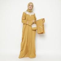 Mukena Abaya Parasut Renda Premium Kuning Kunyit