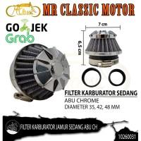 Filter Udara Karburator Jamur Sedang Abu Chrome Custom Variasi