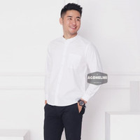 Kemeja Pria Lengan Panjang Putih Kerah Shanghai Kancing1 Slimfit 3345 - Putih Kcg Putih, L