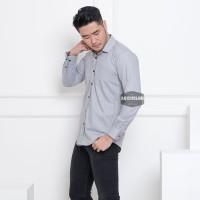 Kemeja Lengan Panjang Pria Polos Abu Muda Soft Grey Slimfit 3346 - Abu-abu Muda, L