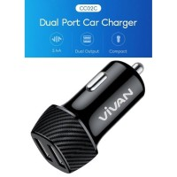 Vivan CC02C 3.4A Dual Port Smart IC Quick Charging Car Charger - Black