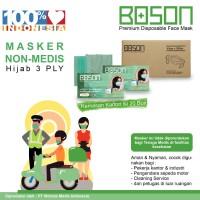 BOSON Masker Hijab Headloop 3 Ply 1 Karton - Disposable Daily Mask