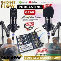PAKET PODCAST Mic Microphone BM800 BM 800 Mixer Microverb 4 Channel