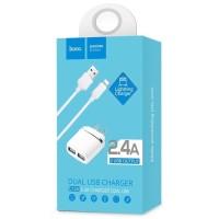 Cas Hoco C12A USB Charger 2 Port 2.4A dengan Kabel Lightning Iphone